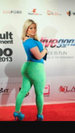 Neon green and blue tights worn on red carpet and interview for AVN
